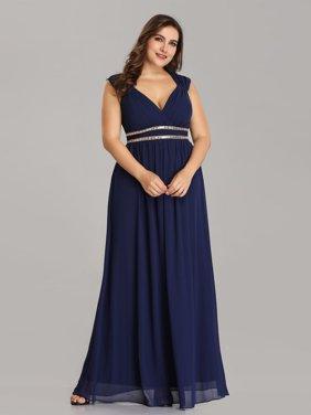 dbec39125f0eb9 Product Image Ever-Pretty Women's Plus Size Elegant Cap Sleeve Chiffon Long  Bridesmaid Wedding Party Evening Dresses