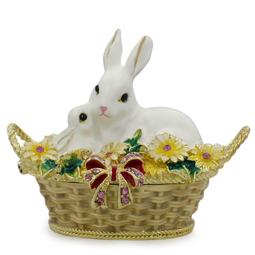 "2.5"" White Bunny Family in Easter Basket Trinket Box Figurine by BestPysanky"