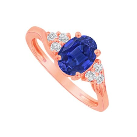 Oval Sapphire and CZ Ring in 14K Rose Gold Vermeil - image 1 de 2