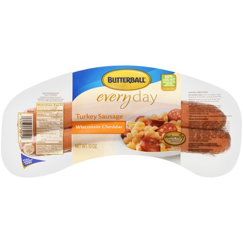 Butterball Everyday Wisconsin Cheddar Turkey Sausage, 12 oz