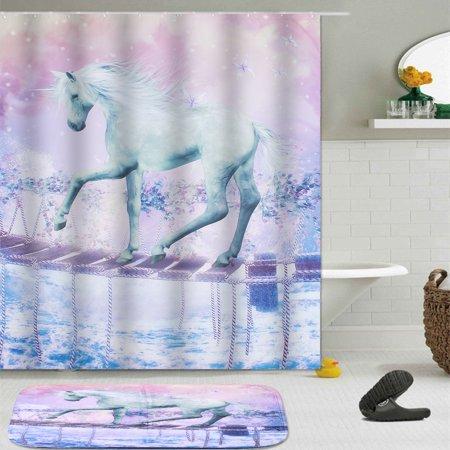 150180cm Unicorn Bathroom Shower Curtains Panel Waterproof Sheer Non Slip Mat