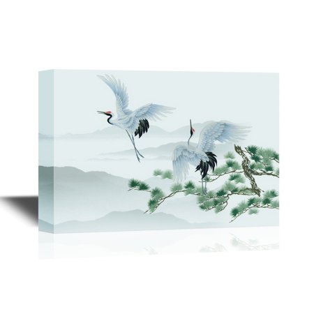 wall26 - Canvas Wall Art - Watercolor Style - Pair of Cranes and Pine Tree - Gallery Wrap Modern Home Decor | Ready to Hang - 32x48 inches ()