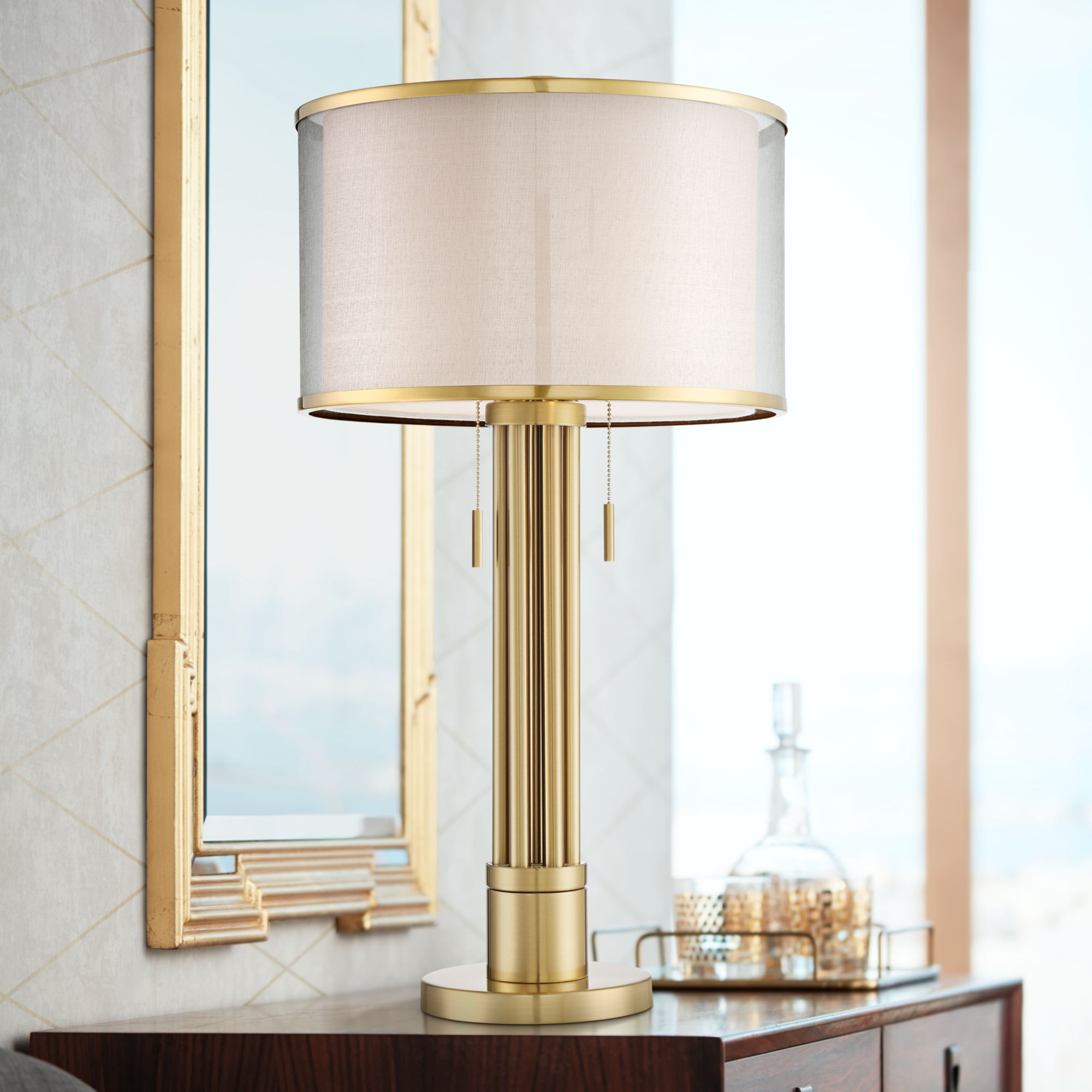 Possini Euro Design Modern Table Lamp Brass Column Taupe Organza Linen Double Drum Shade for Living Room Family Bedroom Bedside