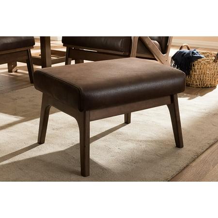 Baxton Studio Bianca Mid-Century Modern Walnut Wood Dark Brown Distressed Faux Leather Ottoman