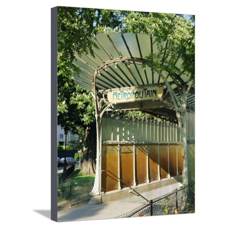 Metropolitain (Metro) Station Entrance, Paris, France, Europe Stretched Canvas Print Wall Art By Gavin
