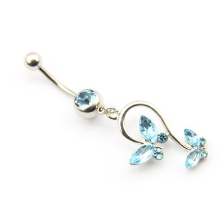 Generic 316L Surgical Steel 14g 7/16 Inch Blue Crystal Butterfly Dangle Cute Navel Ring Belly Bar Button Barbell Stud Body Jewelry Piercing Kit
