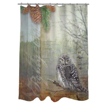 Thumbprintz Conifer Lodge Owl Shower Curtain