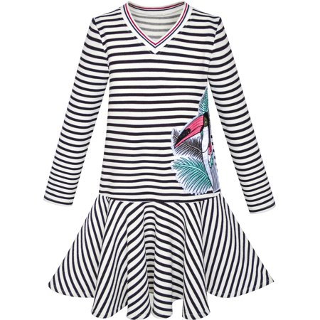 Girls Dress Stripe Long Sleeve Parrot School Uniform Jumper 6