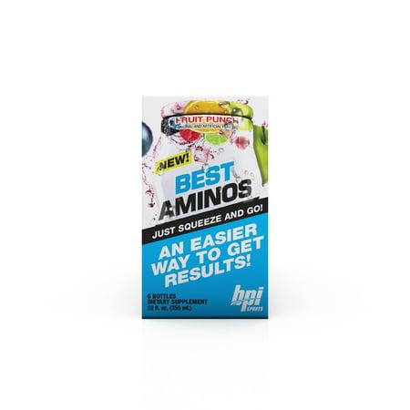 BPI Sports Best Aminos Liquid Water Enhancer, Fruit Punch, 144 - Amino Fuel Liquid Concentrate