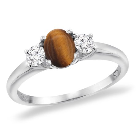 14K White Gold Natural Tiger Eye Engagement Ring Diamond Accents Oval 7x5 mm, size 5