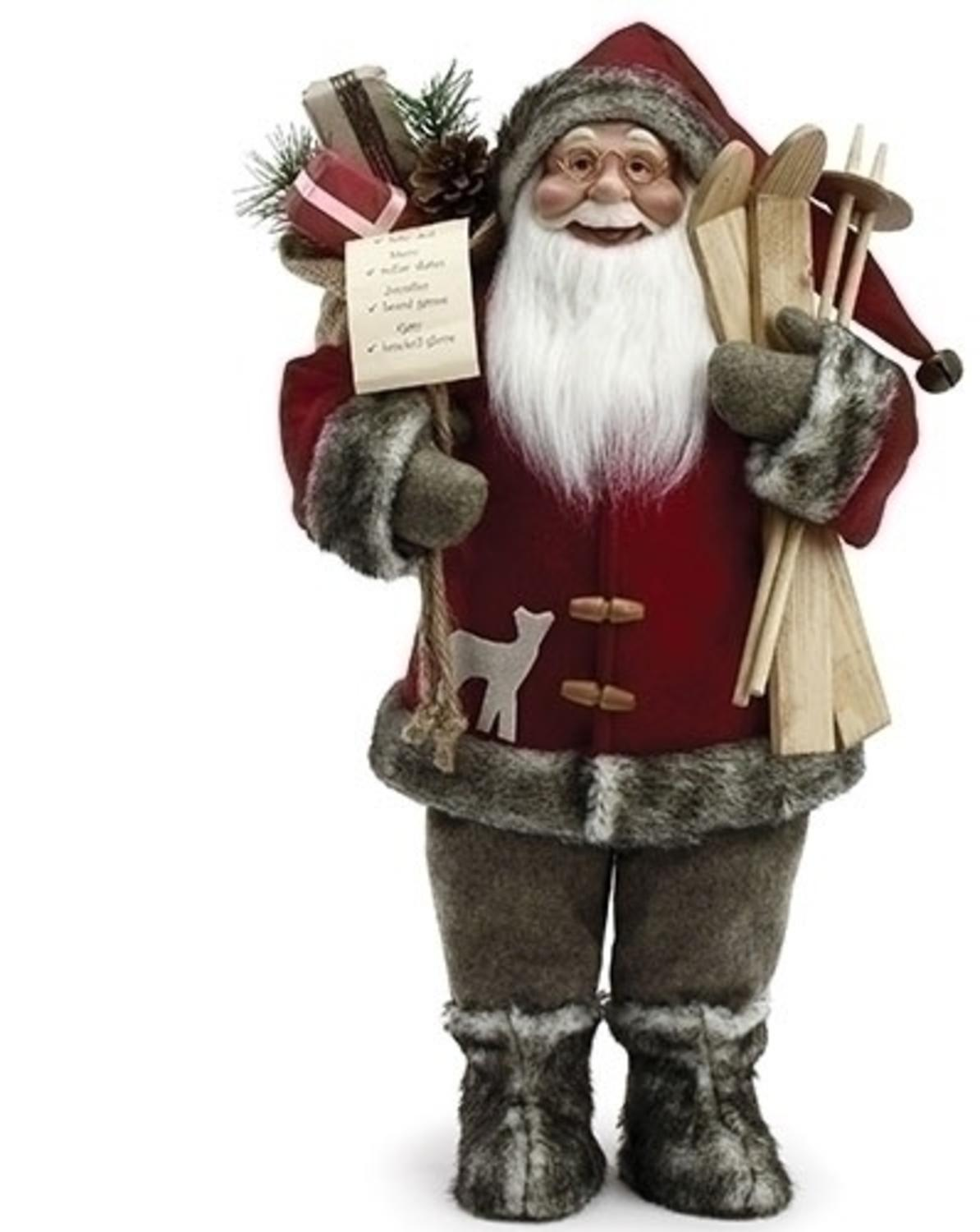 "18"" Santa Claus with Skis and Fur Boots Christmas Figure by Roman"