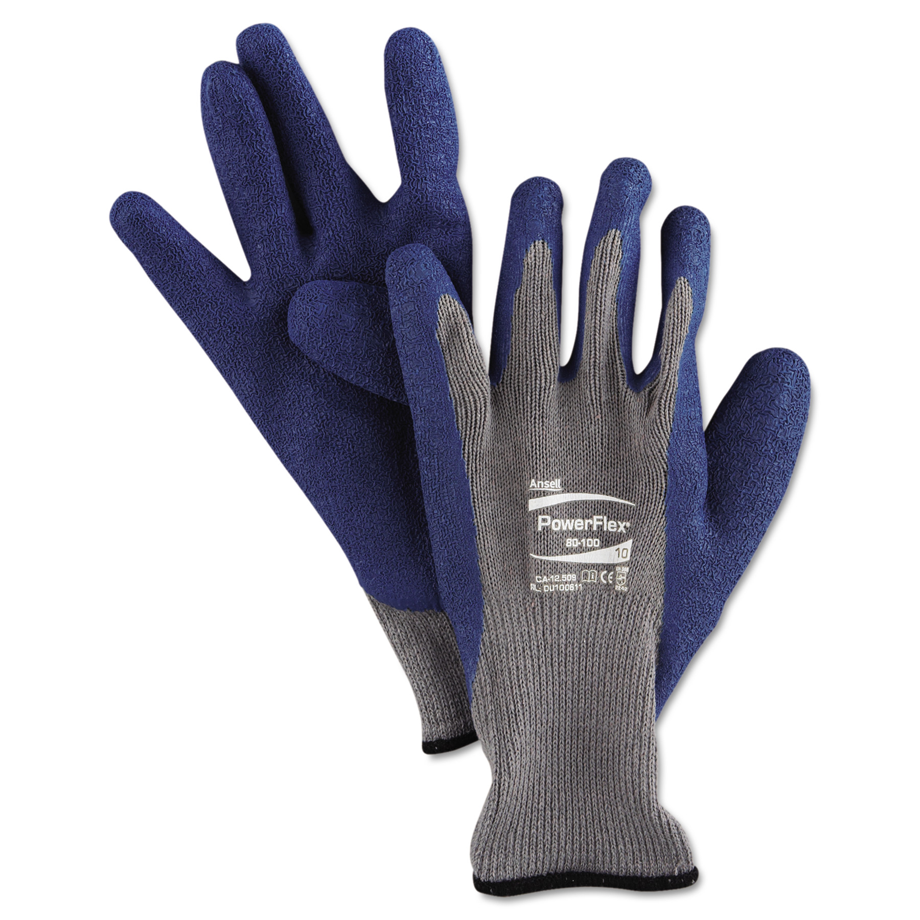 AnsellPro PowerFlex Gloves, Blue/Gray, Size 10, 12 Pairs/Pack