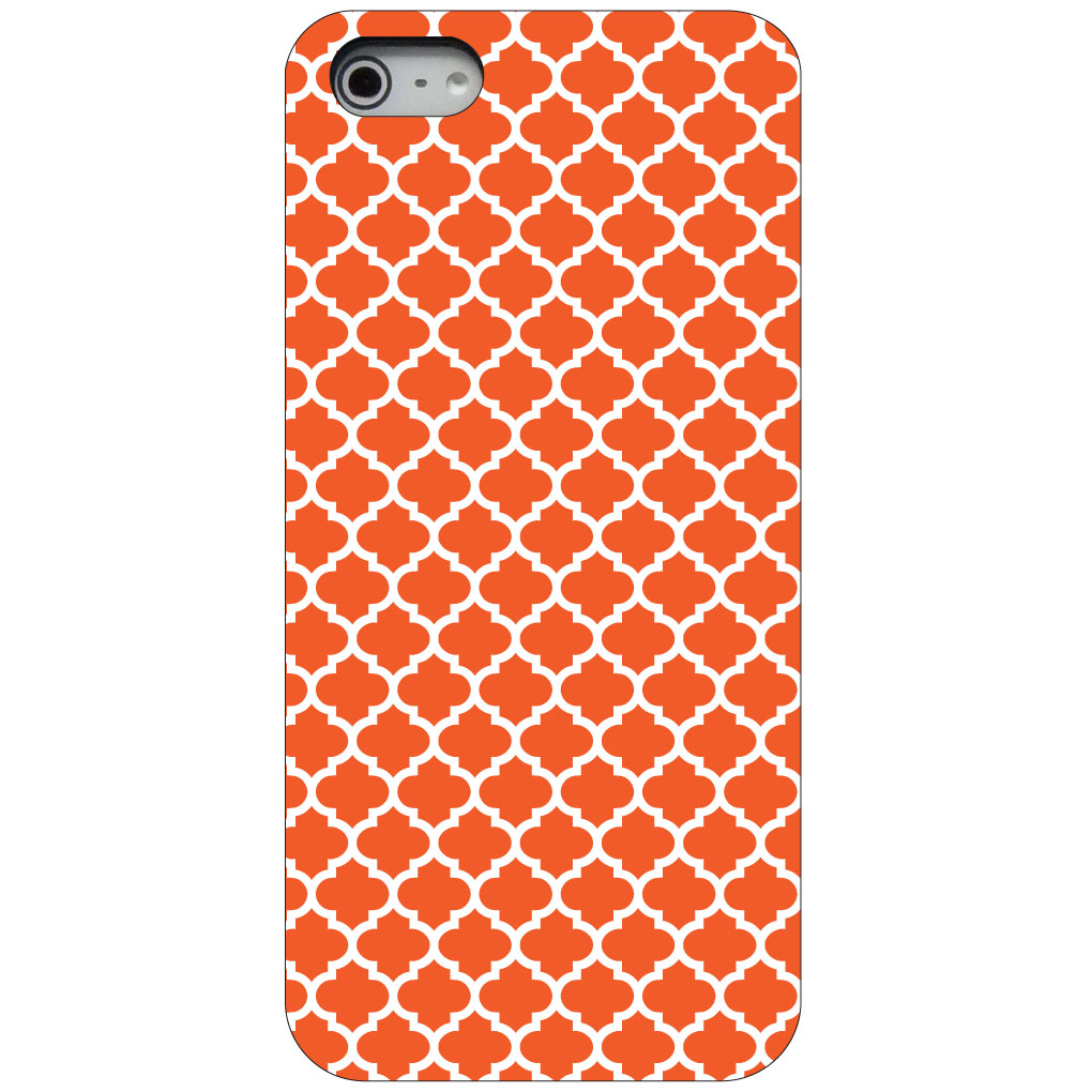 CUSTOM Black Hard Plastic Snap-On Case for Apple iPhone 5 / 5S / SE - Orange White Moroccan Lattice