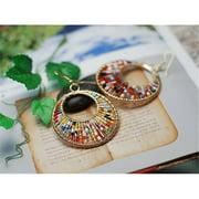 Merit 10713 Peacock Tail Color Bead Earrings