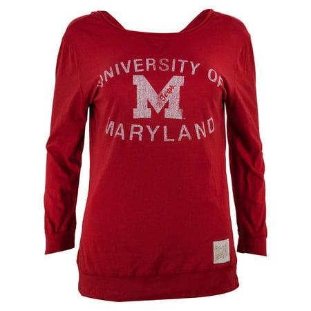 Maryland Terrapins - Distressed Logo Juniors 3/4 Sleeve Raglan