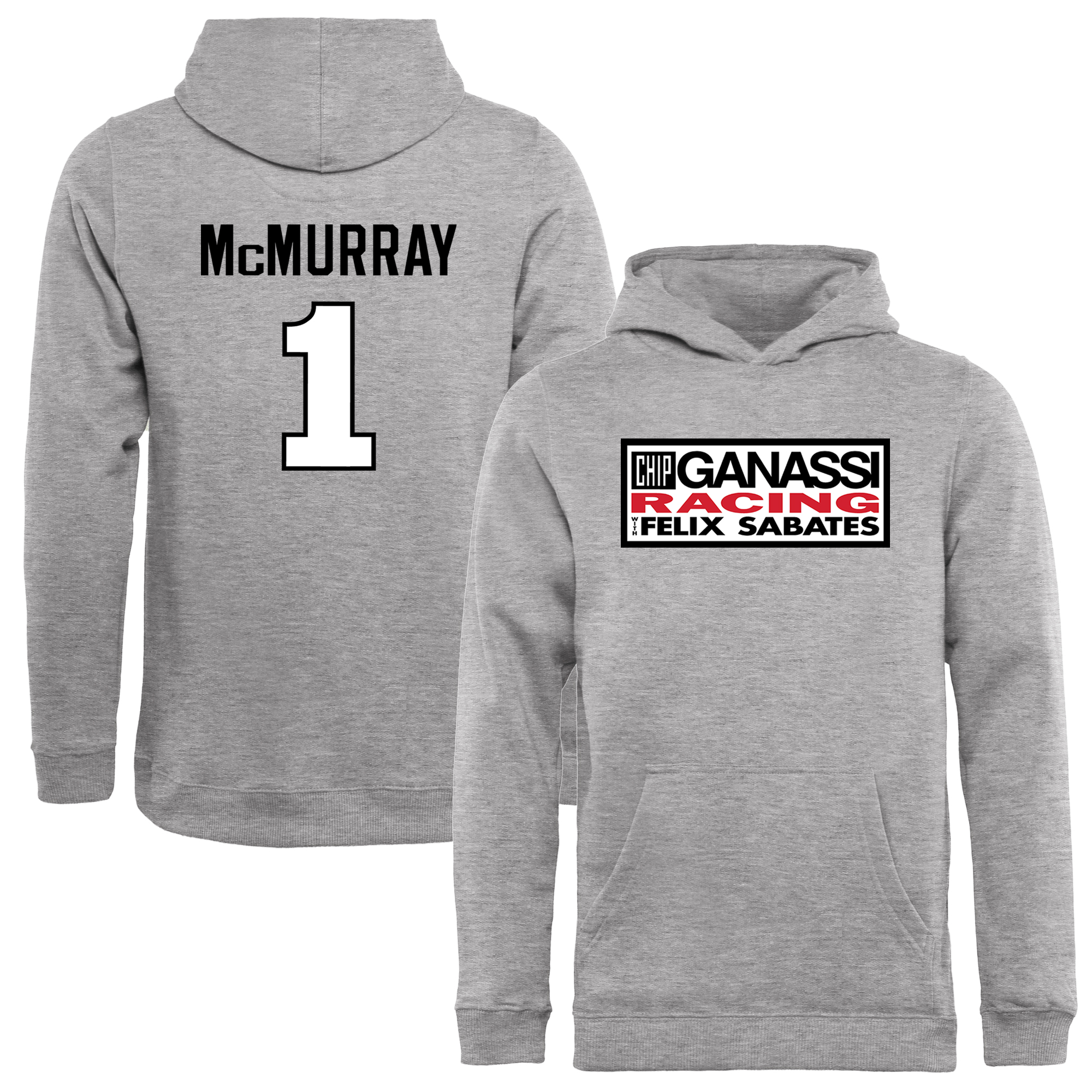 Jamie McMurray Youth Driver Name & Number Pullover Hoodie - Ash