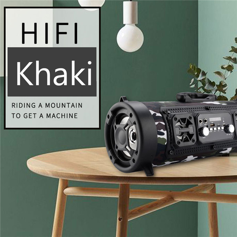 Rugged Portable Indoor/Outdoor HIFI Cylinder Wireless Bluetooth Speaker Subwoofer