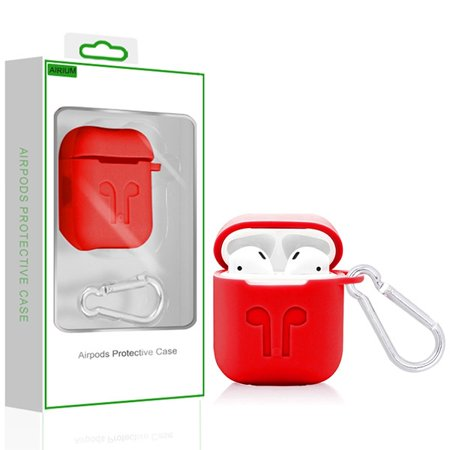 Airpods Protective Case-red With Package Airpods Protective Case And Strap Made Of Lightweight Impact-resistant Silicone. Integrated Charging Port Cover Protects Port From Dust And Dirt. Carabiner Clip Included To Securely Attach Your Airpods To Backpack And Other Outdoor Gear. Airpods Strap Mounts Each End And Keeps Your Airpods Together. Compatible With Airpods With Charging Case And Airpods With Wireless Charging Case. Does Not Interfere With Wireless Charging. Airpods Not Included.