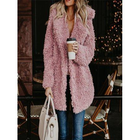 Womens Ladies Warm Artificial Wool Coat Jacket Lapel Winter Outerwear