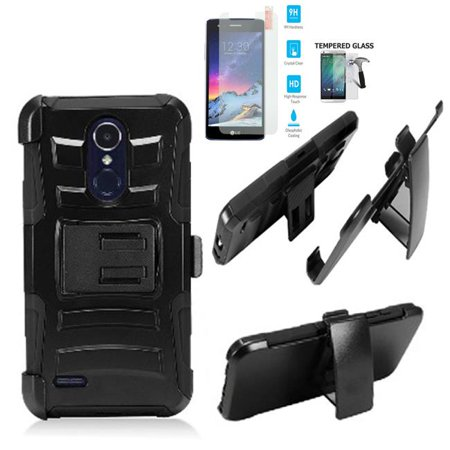 Phone Case for Straight Talk LG Rebel 4 (Tracfone)/ AT&T Prepaid Phoenix 4 Case / Aristo 3 Case / LG Tribute Empire Holster Belt Clip + Rugged Cover Stand (Holster -