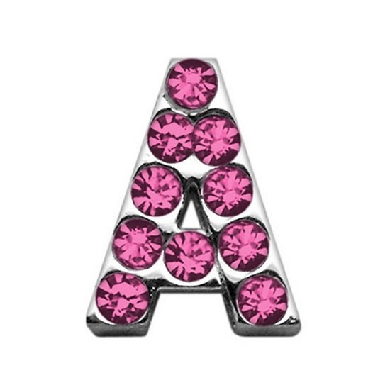 """3/4"""" (18mm) Pink Letter Sliding Charms A 3/4 (18mm)"""