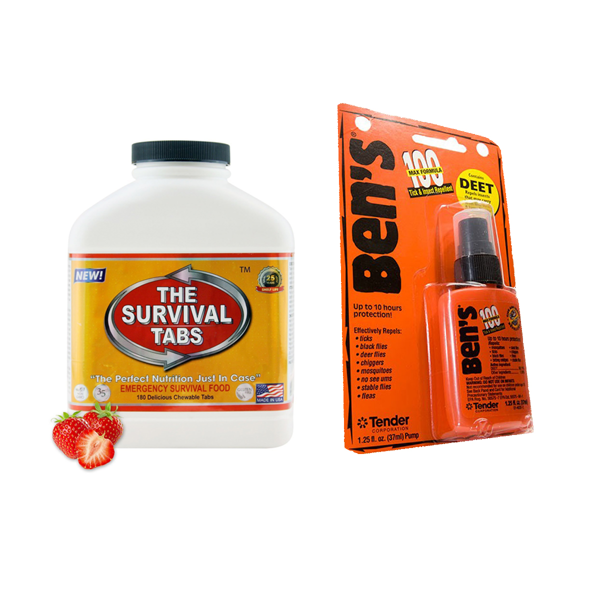 Ben's-100 Max Tick & Insect Repellent 1.25Oz Pump + 15 Days MREs (180 Tabs Strawberry) by
