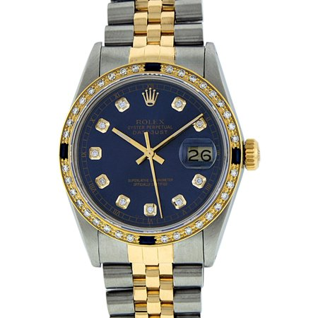 Pre-Owned Rolex Mens Datejust Steel & 18K Yellow Gold Blue Diamond & Sapphire Watch 16013 Jubilee