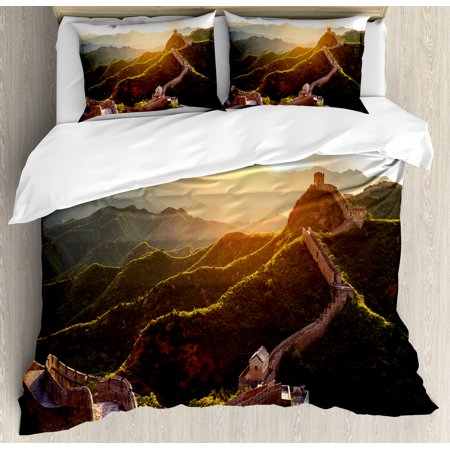Great Wall of China King Size Duvet Cover Set, Historical Structure at Sunset Time with Hazy Lights Mystic Image, Decorative 3 Piece Bedding Set with 2 Pillow Shams, Yellow Green, by