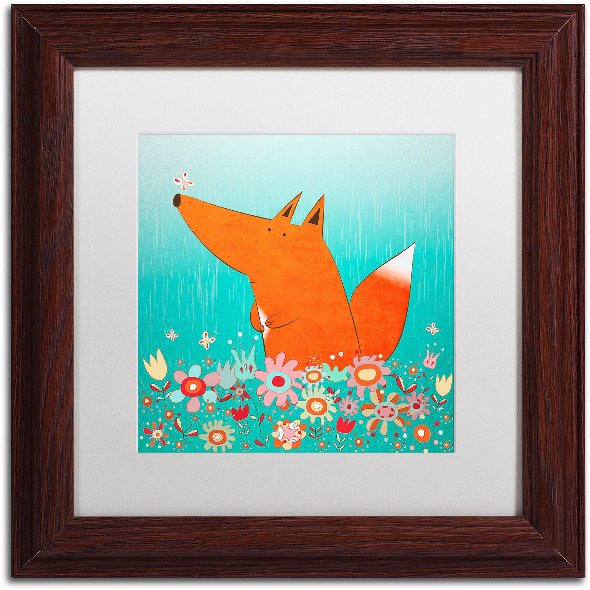 """Trademark Fine Art """"Fox in Flowers"""" Canvas Art by Carla Martell, White Matte, Wood Frame"""