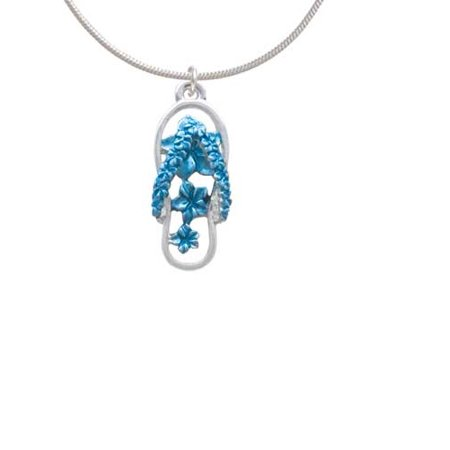 Blue Open Plumeria Flower Flip Flop Charm Necklace, 18