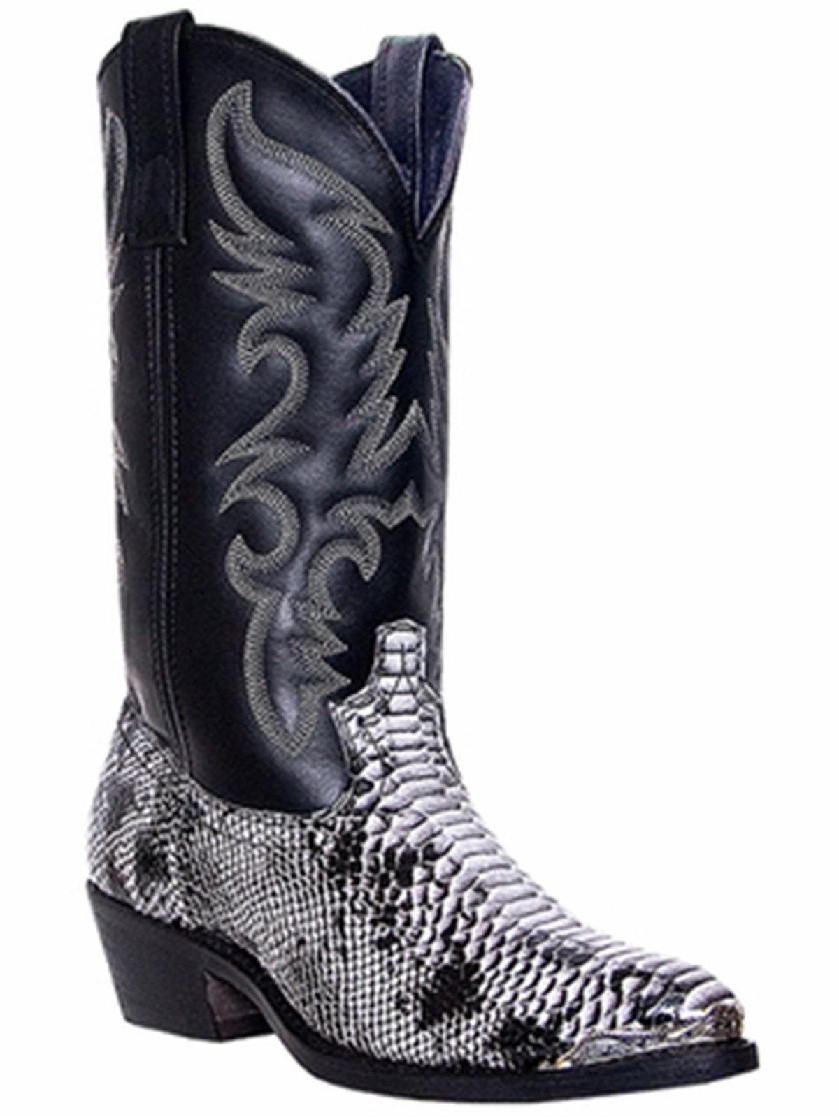 Laredo 68067 Men's Black and White Snake Print Monty Western Boots by Laredo