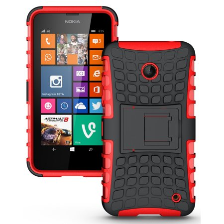 NEW NAKEDCELLPHONE RED GRENADE GRIP RUGGED TPU SKIN HARD CASE COVER STAND FOR NOKIA LUMIA 630 635 PHONE (AT&T, T-MOBILE, METRO-PCS, UNLOCKED) ()
