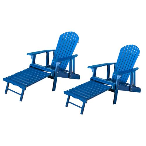 Katerina Outdoor Reclining Wood Adirondack Chair with Footrest (Set of 2)