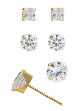 c370decdb Product Image Brilliance Fine Jewelry 10kt Yellow Gold 2/3/4mm Square CZ Stud  Earring Set