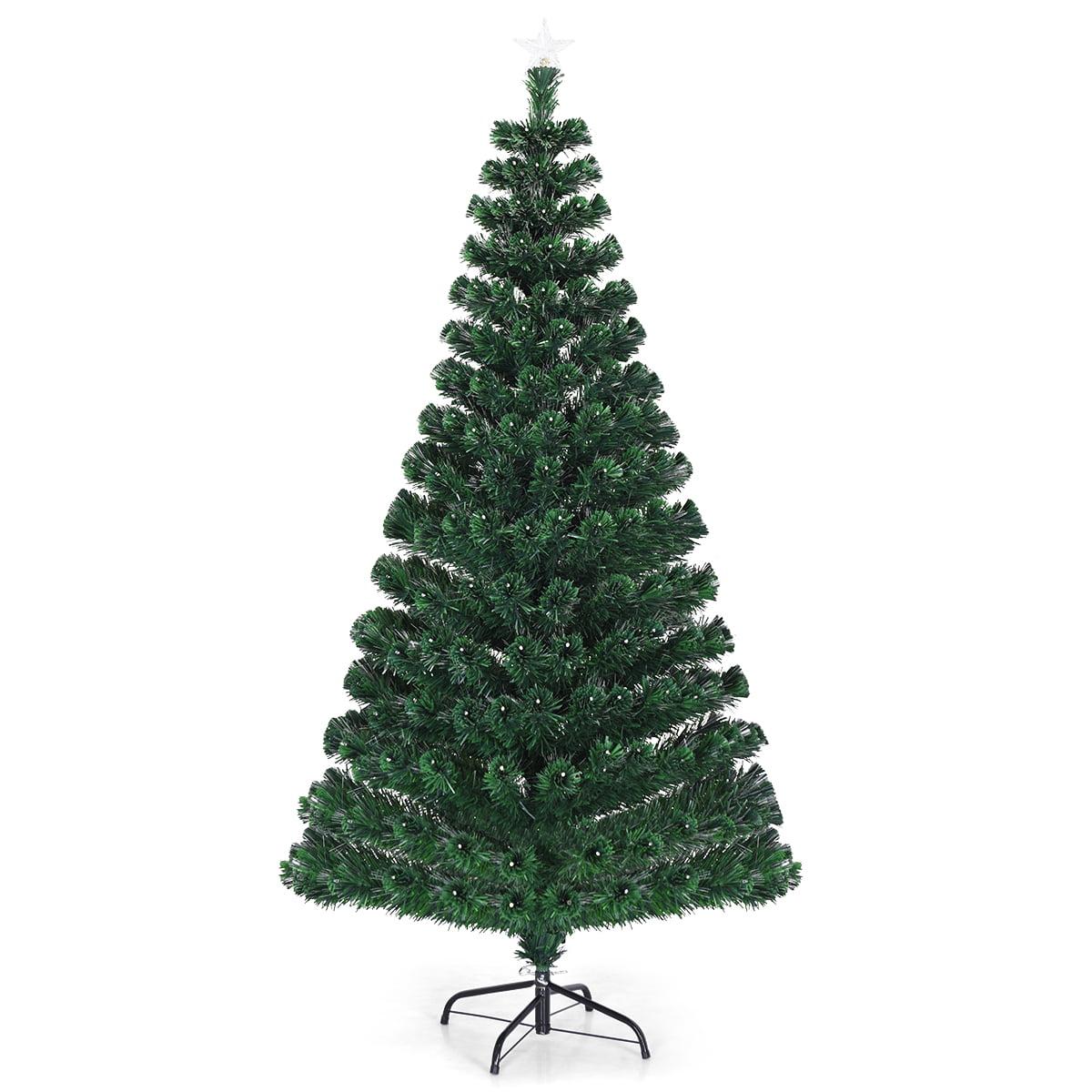 Costway 5'/6'/7'Pre-Lit Fiber Optic Christmas Tree 180/230/280 Lights Top Star