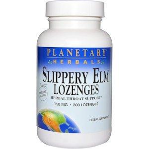 Planetary Herbals, Slippery Elm Lozenges, Tangerine Flavor, 150 mg, 200 Lozenges (Pack of 1)