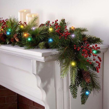 cordless led pre lit cone berry christmas garland