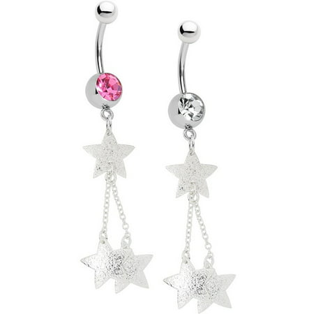 Belly Button Ring - 14ga Star Dangle 316L Surgical Steel - Large CZ Gem