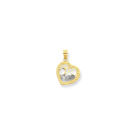 10K Yellow Gold with Rhodium Plating Mom Heart Charm (20mm x 14mm)