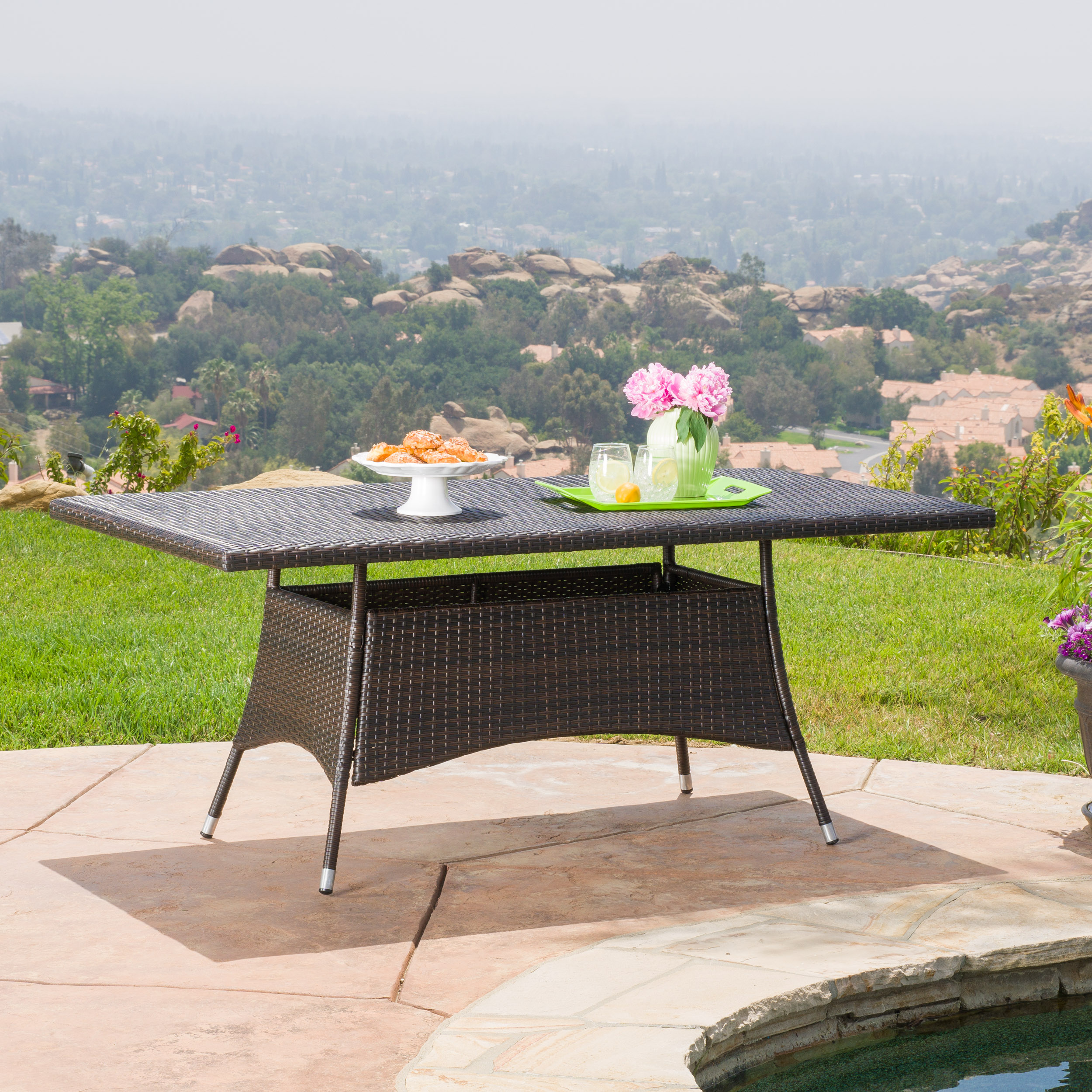 Noble House Ramsey Outdoor Rectangle Wicker Dining Table, Multibrown