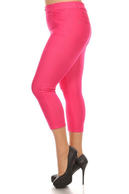 Womens Plus Size Basic 5 Pckt Capri Skinny Jegging Pants 817JN201P-3XL-Khaki