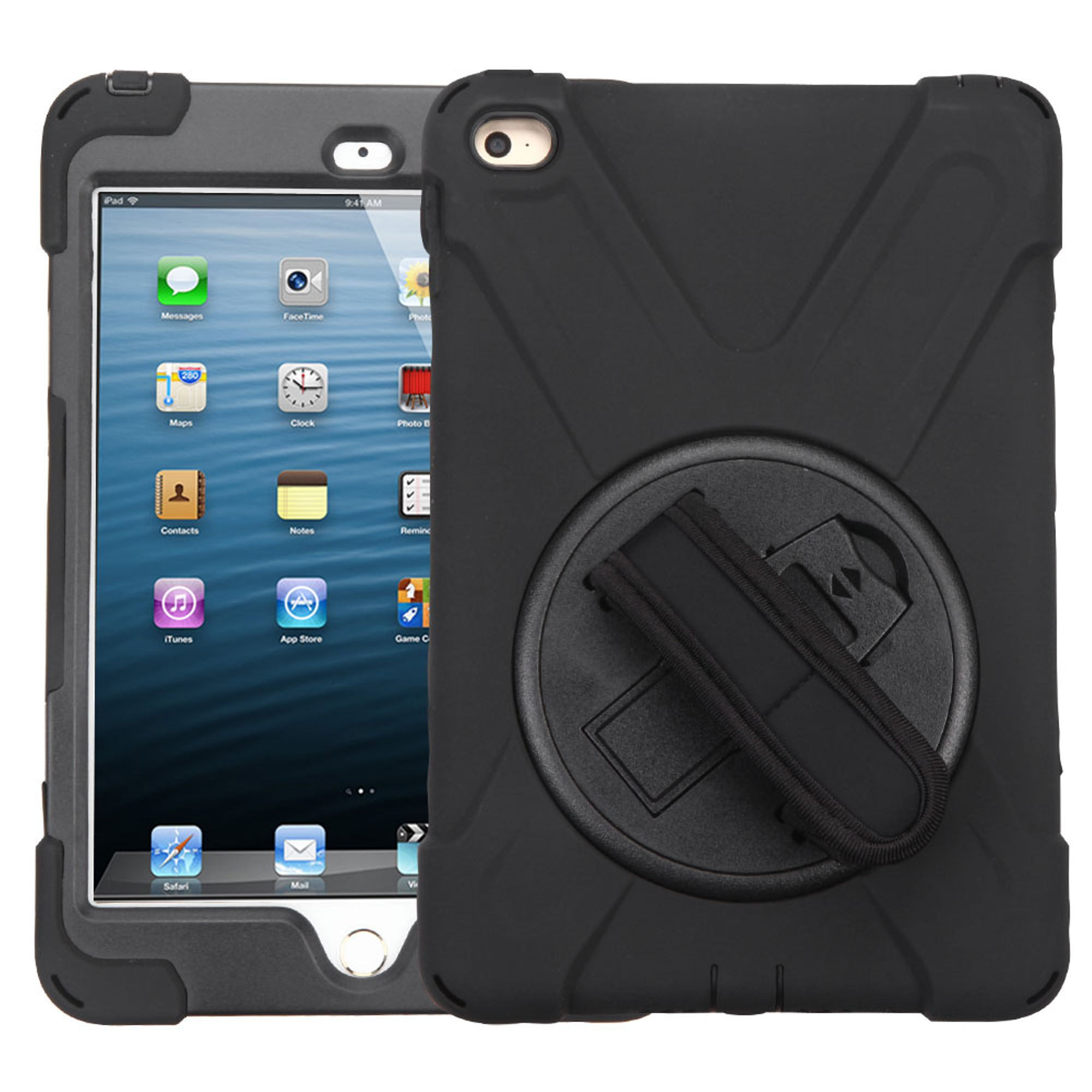 Apple iPad 4 Mini, by Insten Rotatable Hard Stand Protective Case Cover (with Wristband) For Apple iPad 4 Mini - Black