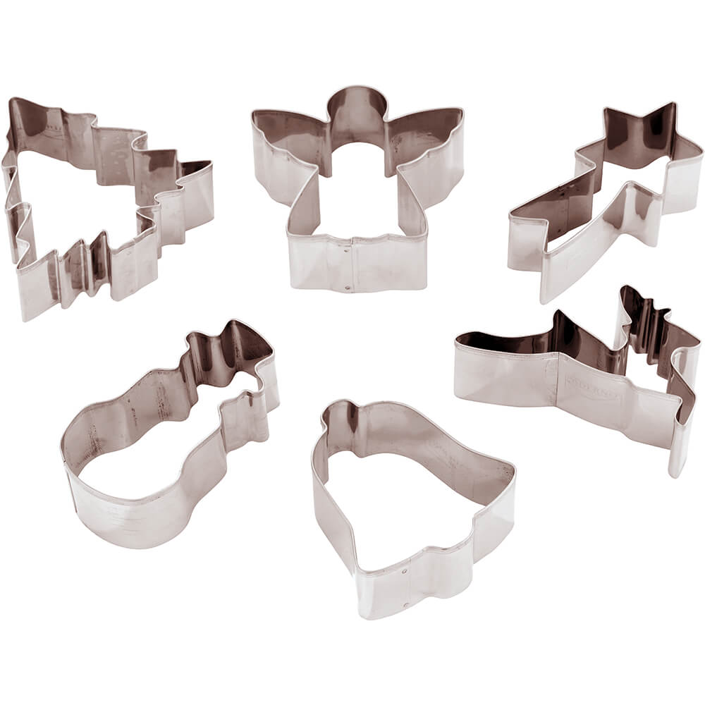 "Paderno World Cuisine Set Of 6 Assorted Christmas Cookie Cutters, 3.13"", Stainless Steel, 47387-01"