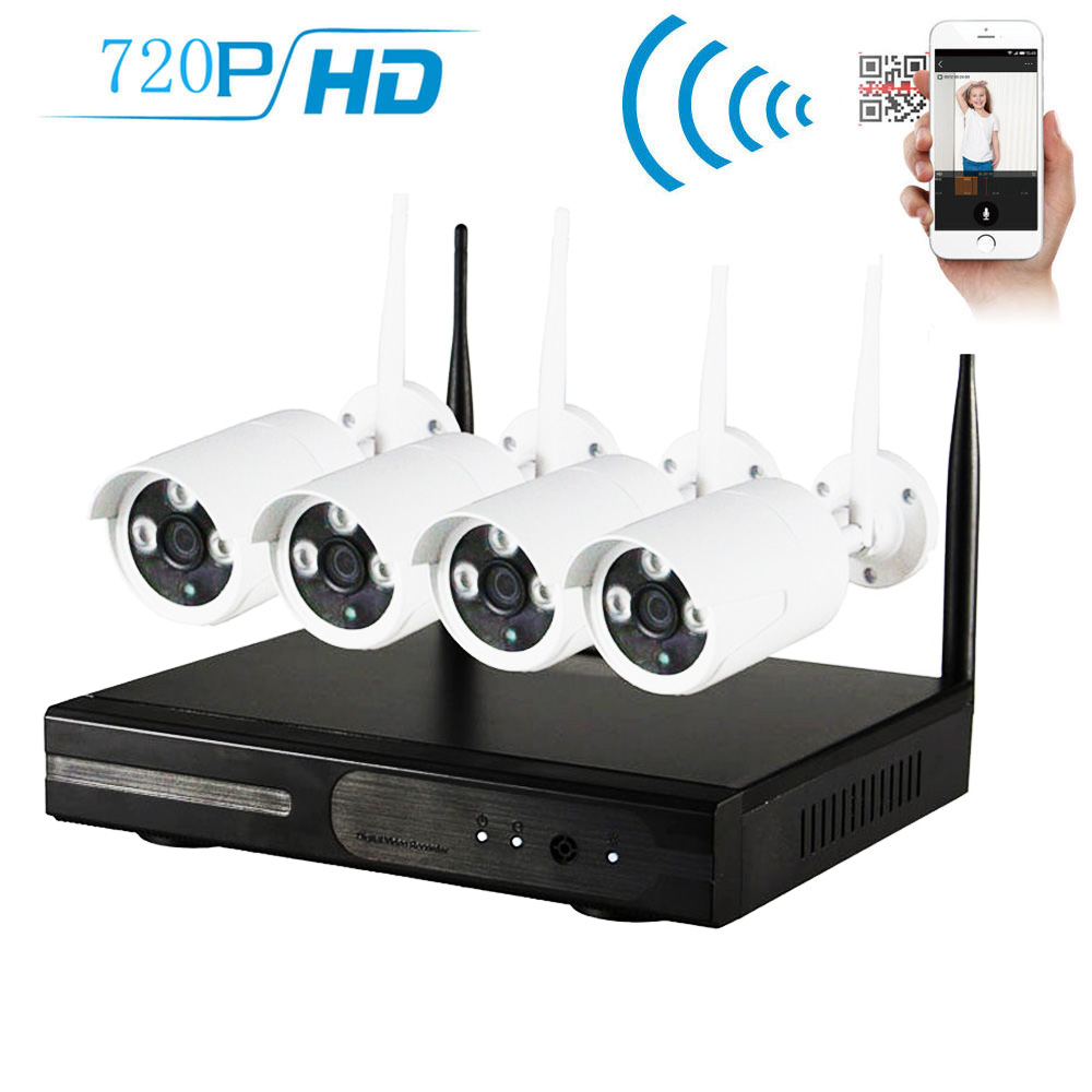 Zimtown 4CH 720P NVR Wireless Wifi Outdoor IR Night Vision Home Security Camera System (Hard Drive NO Include)��