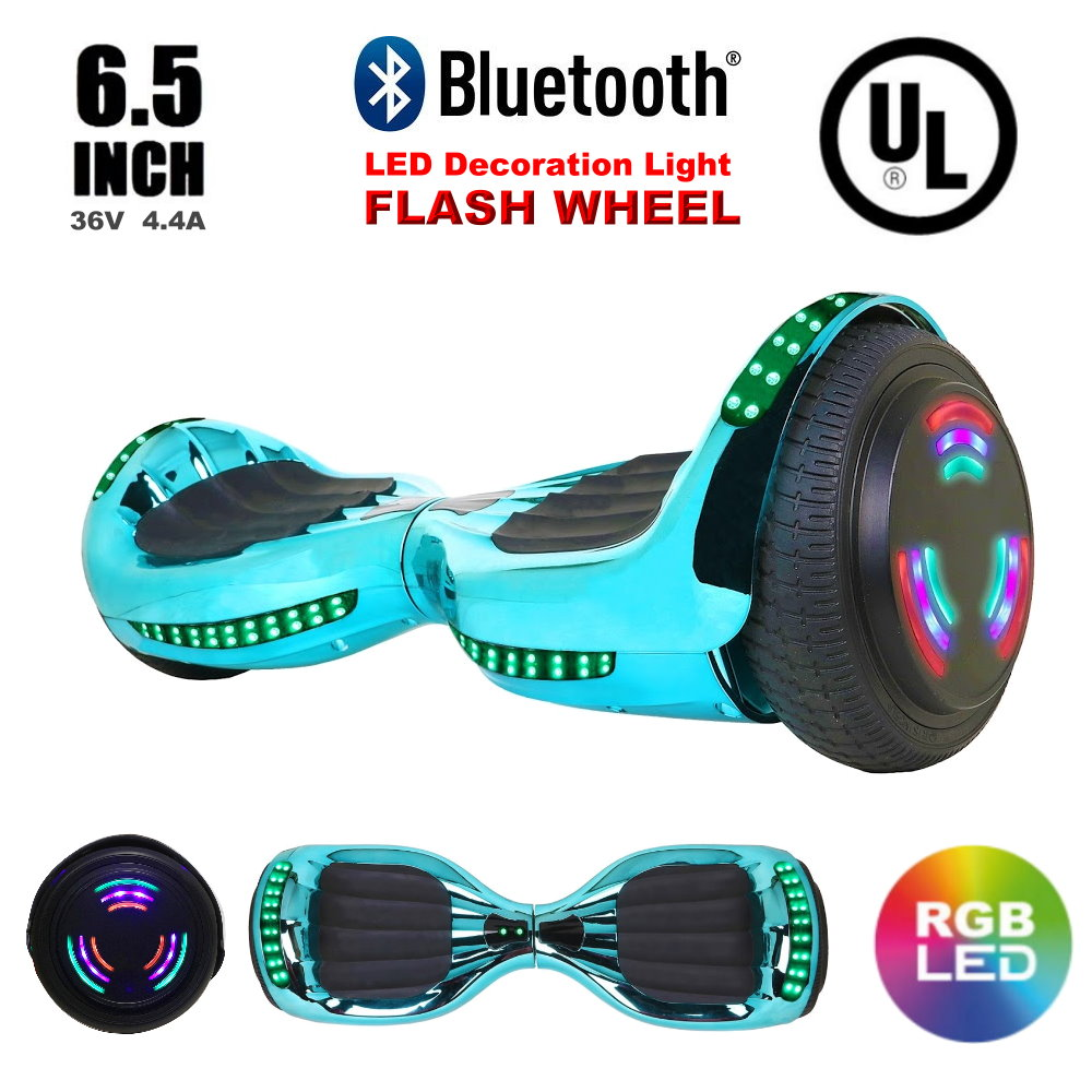 "Click here to buy UL 2272 Listed LED Flash Wheel 6.5"" Hoverboard Two-Wheel Self Balancing Scooter with Bluetooth Speaker Chrome...."