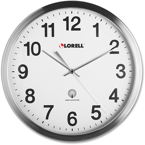 "Lorell 12"" Radio Controlled Brushed Nickel Plated Wall Clock"
