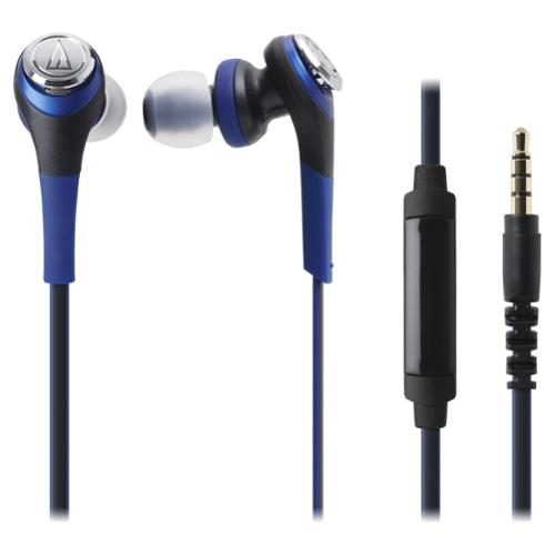 Audio-technica Solid Bass In-ear Headphones With In-line Mic & Control - Stereo - Blue - Mini-phone - Wired - 40 Ohm - 5 Hz - 24 Khz - Earbud - Binaural - In-ear - 3.94 Ft Cable (ath-cks550isbl)