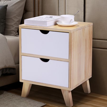 """JAXPETY 18""""H Mid Century Modern Nightstand Side Table with 2 Drawers Light Walnut and White"""