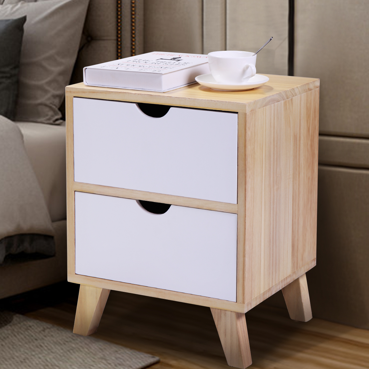 "JAXPETY 18""H Mid Century Modern Nightstand Side Table with 2 Drawers Light Walnut and White"