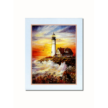 Art Com Victorian Print - Lighthouse with Victorian Cottage by the Sea #3 Wall Picture 8x10 Art Print